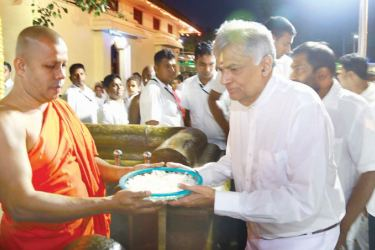 Prime Minister Ranil Wickremesinghe in Kataragama. Picture by M. Nelson Piyaratne, Kataragama Group Corr.