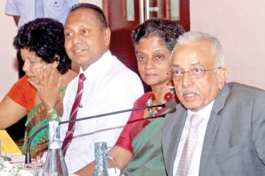 Minister Malik Samarawickrama at the Export Development Board meeting last week. Picture by Chaminda Niroshan