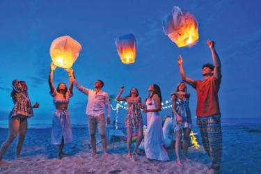 Sky lanterns being released at Villa 700