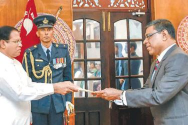 Court of Appeal President Justice P.P. Surasena and two members of the Court of Appeal, Justice S. Thurairaja and Justice E.A.G.R. Amarasekara took their oaths as members of the Supreme Court before President Maithripala Sirisena, at his residence yesterday.
