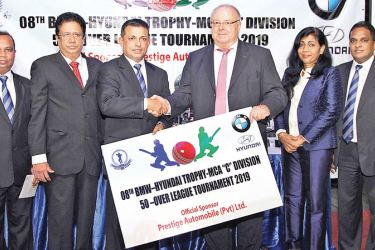 Chairman / Managing Director, Prestige Automobile (Pvt) Ltd., / Hyundai Lanka (Pvt) Ltd., Hans A Reuter (03rd from right) handing over the sponsorship package to the President /MCA, Roshan Iddamalgoda (third from left) ;    Others in the picture from left to right , Rohan Somawansa, MCA Executive Committee Member & Secretary , Sponsorship Committee, Sujith Peiris, Director, Strategic Business Development, Hyundai Lanka (Pvt) Ltd. Viola Karunaratne, Director, Human Resources, Prestige Automobile (Pvt) Ltd. &