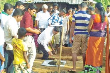 Eleven model villages will be built as part of the birthday celebrations of Housing Minister Sajith Premadasa. Foundation stones were laid in this regard by Minister Premadasa who celebrated his 52nd birthday. Picture by Sumithra Kumari, Kantale Group Correspondent.