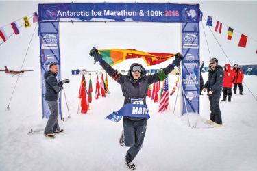 Winning  Antarctic Ice Marathon