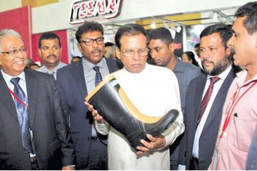 Flashback: The 10th edition of the Footwear and Leather exhibition organized by the Sri Lanka Footwear and Leather Products Manufacturing Association inaugurated by President Maithripala Sirisena at the BMICH