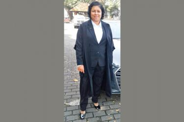 Attorney-at-law Rajani Abeywickrama in her new court attire at the Galle High Court. Picture by Mahinda P. Liyanage - Galle Central Special Corr.