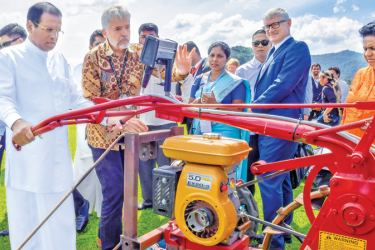 President Maithripala Sirisena who is on a four day official visit to the Philippines yesterday inaugurated the Direct Seeded Rice Demonstration Field at the International Rice Research Institute in Los Banos. The President in the company of IRRI's Director General Matthew Morell and officials. Picture by Sudath Silva