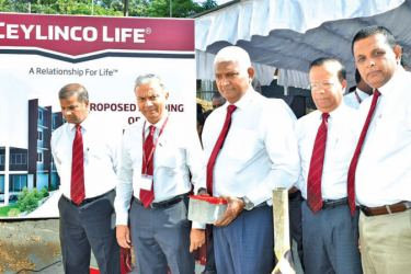Ceylinco Life Chairman R. Renganathan, Managing Director Thushara Ranasinghe and Directors of the company at the foundation stone laying ceremony.