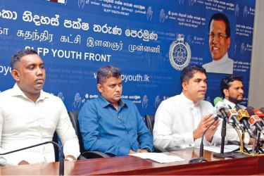 MP Shantha Bandara speaks at the media conference yesterday. At left is Thisara Gunasinghe. Picture by Gayan Pushpika