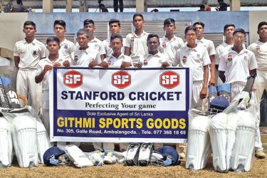 The under 19 cricket team of Sri Devananda College Ambalangoda with the cricket equipment they received from Stanford Cricket India.