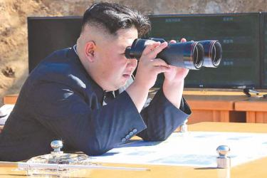 North Korean leader Kim Jung Un viewing a missile launch.