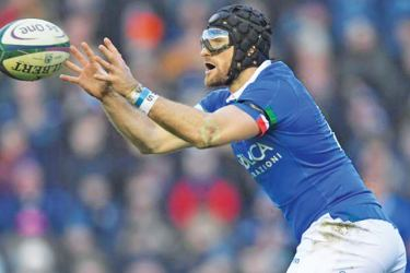 Ian McKinley in action for Italy against Scotland during the Six Nations.