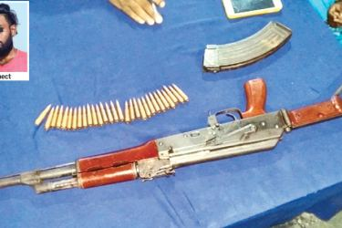The gun and the ammunition taken into custody yesterday. Pictures by Nuwan Jayasekera