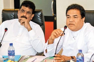 Minister P. Harrison and State Minister Dilip Wedaarachchi at the meeting.