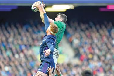 Scotland's flanker Rob Harley (L) vies with Ireland's flanker Peter O'Mahony to catch the ball in a line out during the Six Nations international rugby union match at Murrayfield in Edinburgh, Scotland on Saturday. AFP