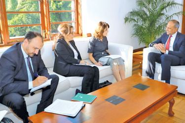 Chief of Staff to the Prime Minister and Ports, Shipping and Southern Development Minister Sagala Ratnayaka meeting with the OHCHR delegation.