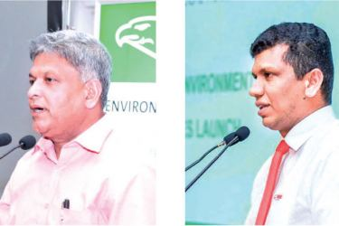 The Director of Biyagama Export Processing Zone, Athula Jayasinghe speaking at the event. & INSEE Ecocycle Lanka Director Sanjeewa Chulakumara speaking at the event