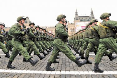 Russian troopos march during the Victory Day military parade marking the World War II anniversary at Red Square in Moscow.