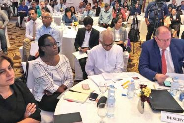 The World Bank Launched the Sri Lanka Development Update with a special focus on 'Demographic Change in Sri Lanka' in Colombo yesterday. State Minister of Finance Eran Wickremaratne with officials at the event