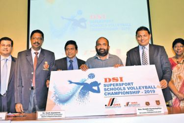 Here Thusitha Rajapaksha, the Managing Director of D. Samson and Sons (Pvt) Ltd (3rd from right) handing over the sponsorship cheque to the President of Sri Lanka Volleyball Federation Ranjith Siyabalapitiya, while from (left to right) Athula Wijewardhana, Deputy Director Of Education – Ministry Of Education, Kanchana Jayarathne - Chairman- Tournament Committee Sri Lanka Volleyball Federation, A. S. Nalaka - General Secretary of Sri Lanka Volleyball Federation, Sunil Jayaweera - Advisor for Minister of Educ