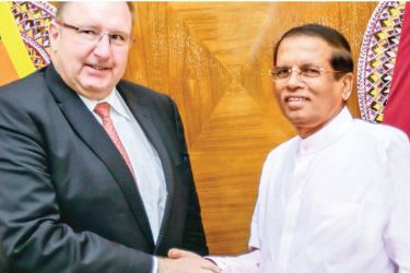 The World Bank Vice President for South Asia, Hartwing Schafer called on President Maithripala Sirisena at President's official residence in Colombo recently. Secretary to the President Udaya Seneviratne, World Bank Resident Representative, President's Economic Advisor Dr Sarath Rajapathirana and NEC Secretary General Prof Lalith Samarakoon were also present.