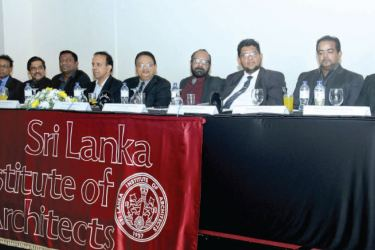 Sri Lanka Institute of Architects officials at the head table. Picture by Saliya Rupasinghe