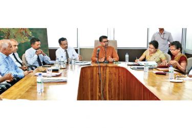 Sabaragamuwa Governor Dhamma Dissanayake presides over a recent seminar to discuss the promotion of the kithul industry, in the province.