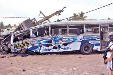 The site of the accident in Mahawewa on Monday. Picture by Marawila Group Corr.