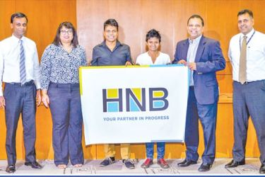 Chammika Weerasinghe, Head of Marketing, HNB, Chiranthi Cooray, Chief Human Resource Officer and Deputy General Manager  Human Resources, HNB, Johann Peries, Jayanthi Kuru-Utumpala, Jonathan Alles, Managing Director and CEO, HNB and Sanjay Wijemanne, Deputy General Manager Retail Banking, HNB.