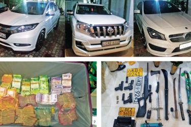 The vehicles, money and arms and ammunition taken into custody from the house of Dematagoda Chaminda's brother. Pictures courtesy Police Media.