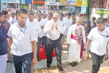 "Prime Minister Ranil Wickremesinghe arrives at St. Joseph's College, Kuliyapitiya to open a three storied building complex constructed under the ""Nearest School is the Best School"" programme implemented by the Education Ministry. Bishop of Kurunegala Rt. Rev. Dr. Harold Anthony Perera and Education Minister Akila Viraj Kariyawasam were present  Picture by Ranjith Asanka"
