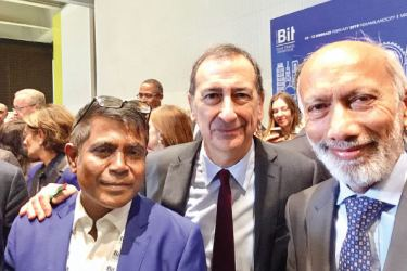 The Mayor of Milan Dr. Giuseppe Sala at BIT 2019 Travel Show opening ceremony, together with Ravi Dias Jayasinha, President of Gateway SRL and Thoyyib Mohamed, the Managing Director of Maldives Marketing and Public Relations Corporation