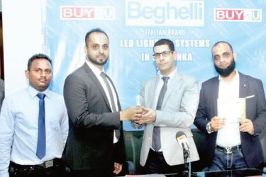 Managing Director of the company Faizal Buhary and Bechir Jerad, Sales Manager BEGHELLI S.P.A. Italy with the new product. Pictures by Saliya Rupasinghe