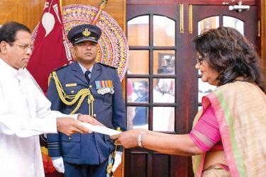 Court of Appeal Justice Deepali Wijesundera was also sworn in before President  Maithripala Sirisena as the Acting President of Court of Appeal.  Picture courtesy President's Media
