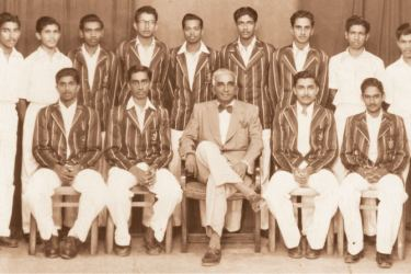 Prince of Wales' College, Moratuwa first eleven cricket team 1955/56  Seated (from left): Ashley Fonseka (Vice Captain), Lasantha Rodrigo (Captain), J. B. C. Rodrigo (Principal), Stanley de Alwis, Herbert Fonseka. Standing (from left): Suranjith Mendis, Brindley Perera, Bandula Premachandra, Buddadasa Weerarathne, K. T. P. Wijedasa, Lyall Perera, Ranjan Rodrigo, Tissa Wijewickrama, Lakdasa Gunathilake.  Absent - Paul Perera, K. W. Darmapala (PoG), Nisal Senarathne (Coach).