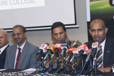 Kelum Sujith, Chairman,Forward Ever, UAE, speaking at a press briefing at the SSC recently. Others from left :Tharaka Rathnasiri, K. G. Wimalasena Principal, Lumbini College and Niranjan Abeywardena.