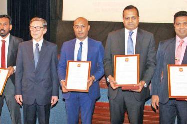 The Sri Lankan delegates who were felicitated by the Russian Centre in Colombo, with Russian Ambassador Yuri Materiy. Picture by Sulochana Gamage