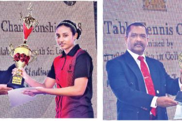 Best Player-Boys Senura Silva receiving the trophy from the chief guest-Best Player-Girls Jithara Warnakulasuriya receiving the trophy from the chief guest