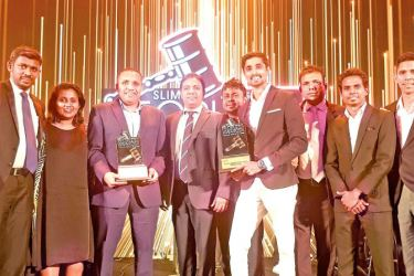 Team Elephant House with awards for 'Beverage Brand of the Year' and 'Youth Choice Beverage Brand of the Year' at the SLIM-Nielsen People's Awards.