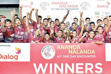 Nalanda College cricketers celebrate their win over Ananda College in the 45th Battle of the Maroons limited-over match at the SSC grounds yesterday.