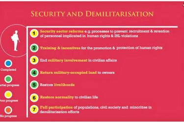 Figure 1: Government progress on security and demilitarisation