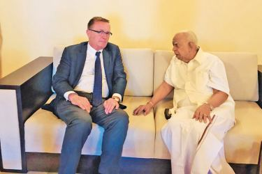 Former United Nations-Under-Secretary General for Political Affairs Jeffrey Feltman with TNA Leader Sampanthan during the discussions.
