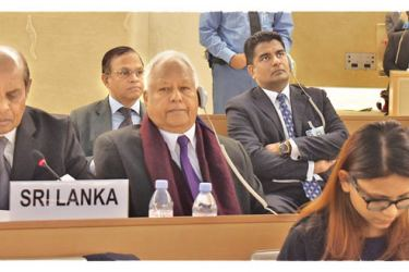 The Sri Lankan delegation at the UNHRC in Geneva. (Picture courtesy Foreign Affairs Ministry)