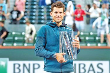 Austrian Dominic Thiem with the Indian Wells men's singles Open crown.