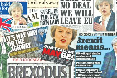 Newspaper headlines on the Brexit dilemma.