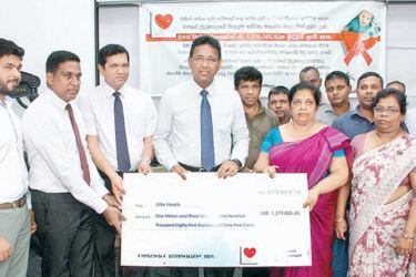 The funds were handed over to Dr. Duminda Samarasinghe,  Consultant Paediatric Cardiologist at the Lady Ridgeway Hospital by the Government Press staff unions.
