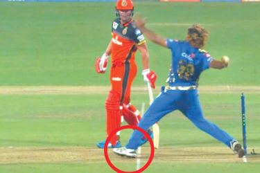 That controversial no-ball bowled by Mumbai Indians fast bowler Lasith Malinga against Royal Challengers Bangalore.