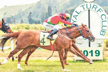 Indian jockey Nikhil Parmar rides Santos to victory in a photo finish in the 1400-metre race for Class I Thoroughbred horses event.