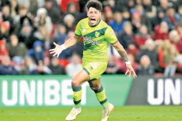 Onel Hernandez celebrates scoring a goal for Norwich against Middlesbrough.