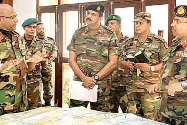 Army Commander Lieutenant General Mahesh Senanayake, Infantry Director General Major General Duminda Keppetiwalana and other Army personnel at the recent briefing on Exercise Western Shield.