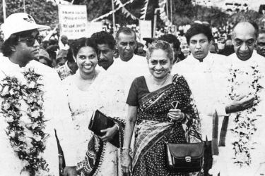 Gamini Dissanayake and Srima Dissanayake with former President J. R. Jayewardene and First Lady Elina Jayewardene.